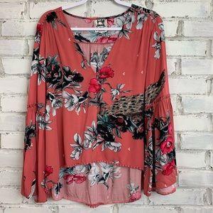 Jaase | Floral Print Crochet Blouse | Size S